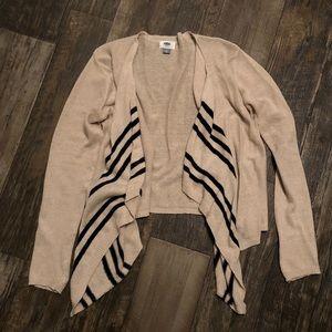 High Low Cream Flyaway Black Stripe Cardigan
